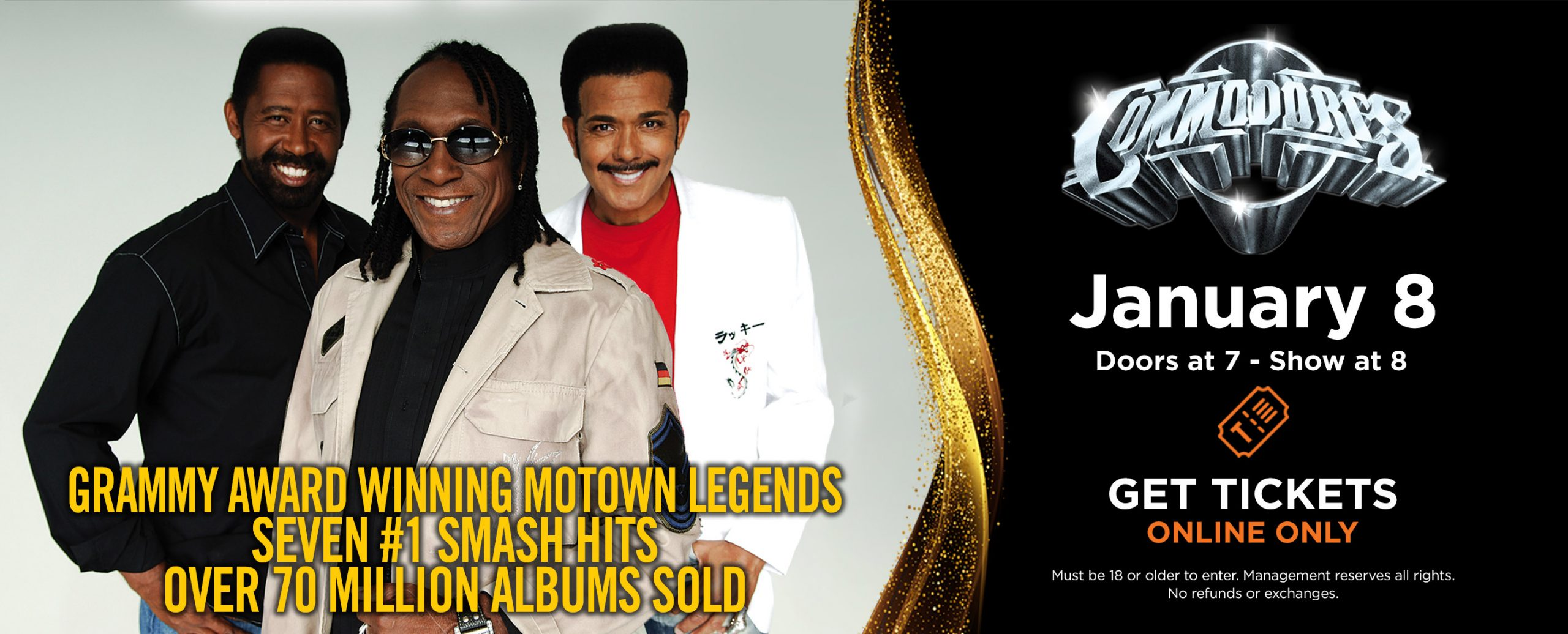 Commodores - Jan 8, 2022 | Doors open 7pm, Show starts 8pm